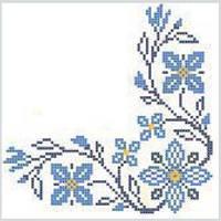 Салфетка La Fleur вышитые цветы синий