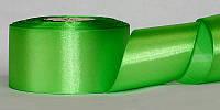 Атласная лента, ширина 5 см, 1 м, цвет светло-зеленый