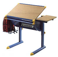 Комплект Детская парта растишка стол трансформер Goodwin KD-1122 (SUN) бук с синей рамой и кресло KY-639
