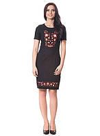 Шикарное черное платье с вышивкой (S-2XL)