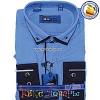 Однотонная рубашка для мальчика с длинным рукавом от 28 по 36 ворот (vr90-b-5)