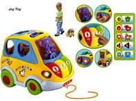 Музыкальная развивающая игрушка Автошка 9198 (896) на батарейках сортер-каталочка 5 фигур 22*14см