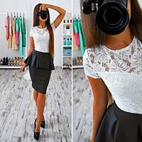 Женский стильный костюм: кружевная блуза и юбка с баской (3 цвета)