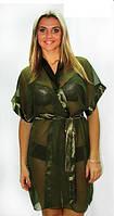 Халат шифоновый короткий темно зеленый, фото 1