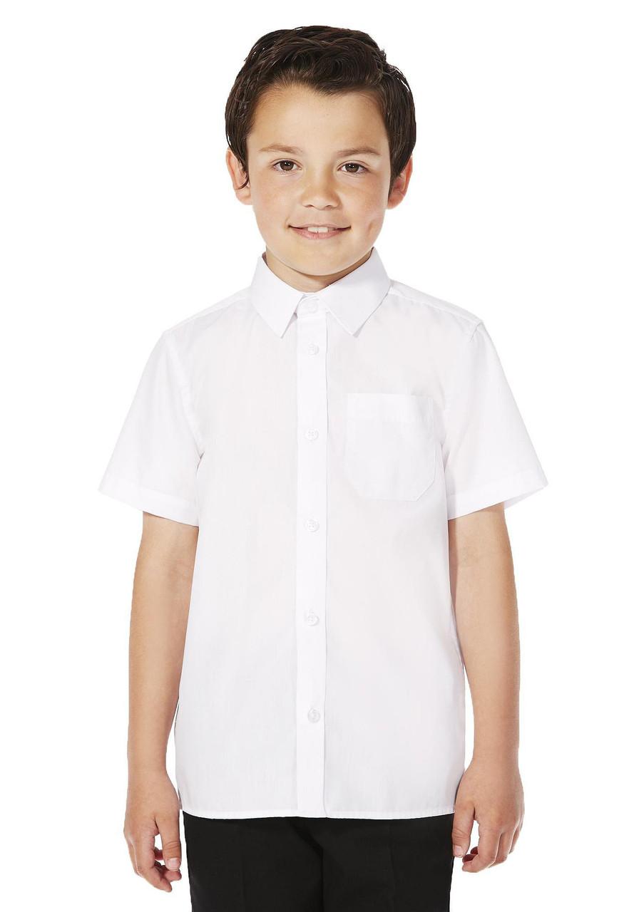 Школьная рубашка белая с коротким рукавом на мальчика 11-12-13-14-15 лет F&F (Tesco, Англия)