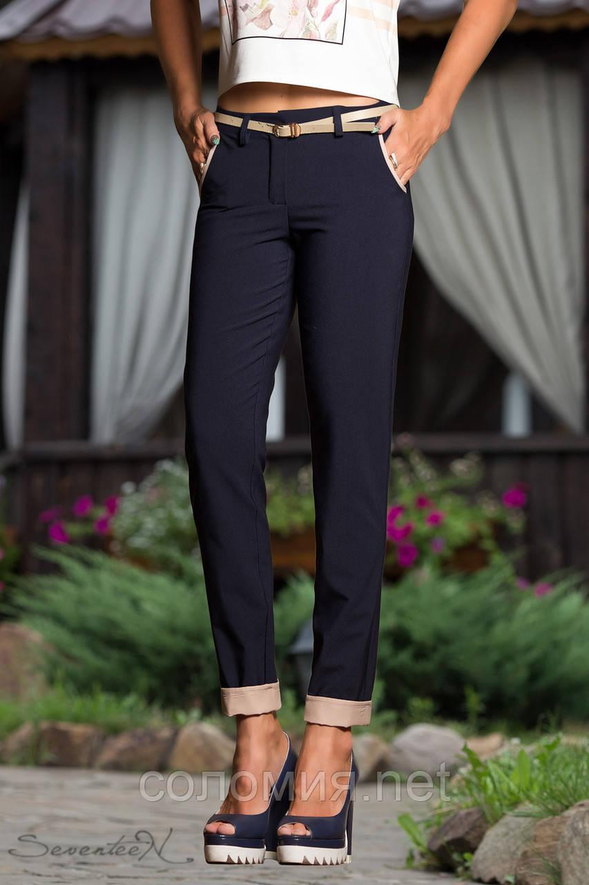 Эффектные брюки темно-синие со вставками