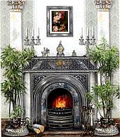 Фотообои из бумаги для стен 201*242 см , 15 листов, Архитектурные сооружения, Серебряный Камин