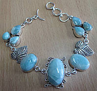 """Красивый серебряный браслет """"Лоза""""  с натуральными  ларимарами  от студии LadyStyle.Biz"""