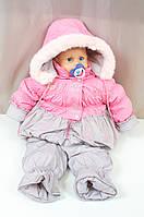 Теплый зимний комбинезон и курточка на девочку, р. 74