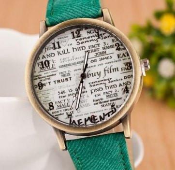 """Часы """"Джинсовые"""" (green) - гарантия 6 месяцев"""