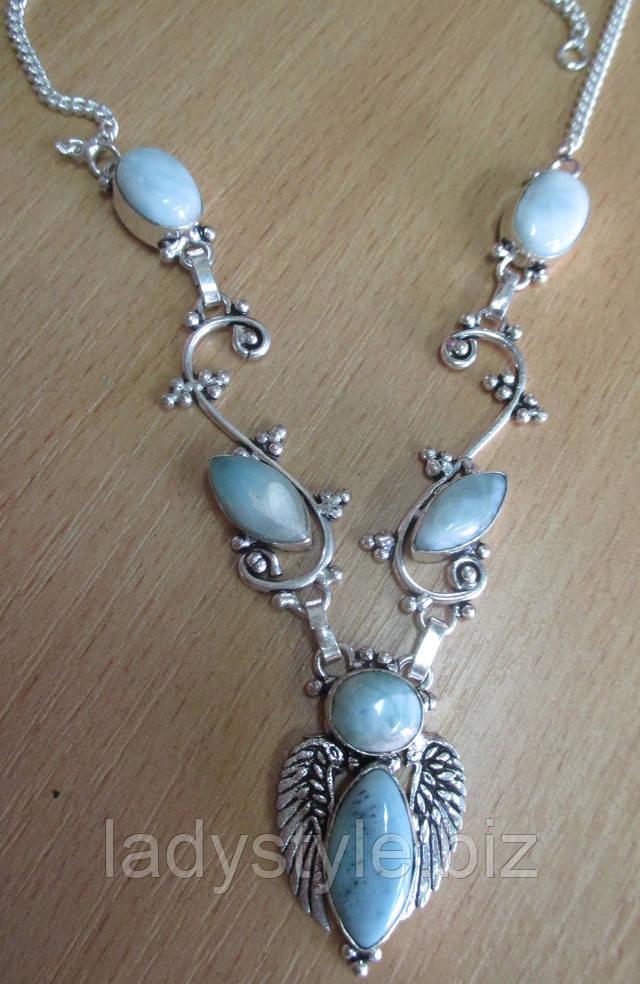серебряное колье украшения серебро ларимар натуральный доминикана бирюза купить