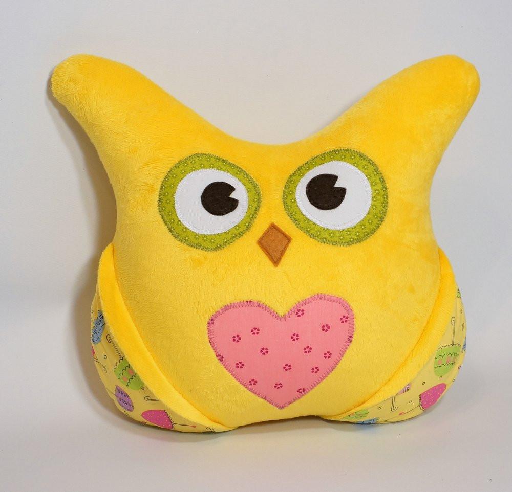 Детская плюшевая подушка с кармашками «Сова» (Желтый), Sunny Bunny