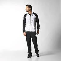 Спортивный костюм Adidas, белое туловище, черные рукава, черные штаны, ф164