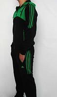 Спортивный костюм Adidas, черный костюм с зелёным  верхом кофты,с лампасами ф177