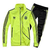 Спортивный костюм Adidas, лимонный верх, черный низ, с лампасами ф180