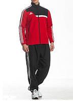Спортивный костюм Adidas, красная кофта с черным верхом, черные штаны,с лампасами ф185