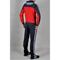 Спортивный костюм Adidas,красный низ и синий верх кофты, синие штаны, с капюшоном,с лампасами, ф197