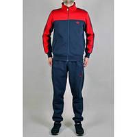 Спортивный костюм Adidas, синяя кофта с красная верхом, синие штаны, ф198