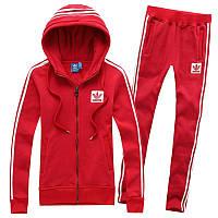 Спортивный костюм Adidas, красный костюм, с капюшоном, с лампасами ф210
