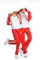 Спортивный костюм Adidas, белое туловище, красные рукава, красные штаны,с лампасами ф213