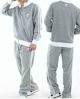 Спортивный костюм Adidas, серый костюм, с лампасами, ф220