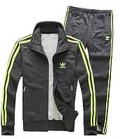 Спортивный костюм Adidas, темно-серый костюм, с салатовыми лампасами, ф222