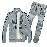 Спортивный костюм Adidas, серый костюм, с лампасами, ф230