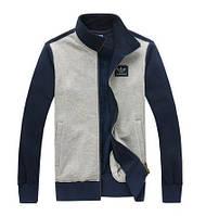 Спортивный костюм Adidas, серое туловище, синие рукава, серые штаны, ф232