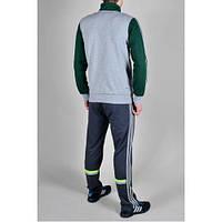 Спортивный костюм Adidas, серое туловище, зелёные рукава, синие штаны,с лампасами ф238