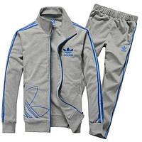 Спортивный костюм Adidas, серый костюм, с синими лампасами, ф246