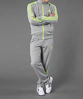 Спортивный костюм Adidas, серый костюм, с салатовыми лампасами, ф262
