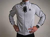 Спортивный костюм Adidas, серая кофта, черные штаны,с лампасами ф268