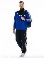 Спортивный костюм Adidas, синяя кофта с черным верхом, черные штаны,с лампасами ф271