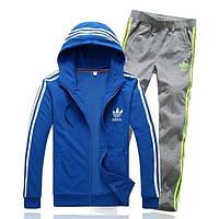 Спортивный костюм Adidas, синяя кофта с капюшоном, серые штаны,с лампасами ф272