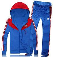 Спортивный костюм Adidas, голубой костюм с красным капюшоном, ф285