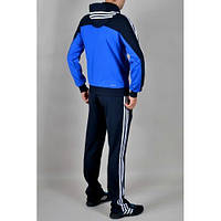 Спортивный костюм Adidas, голубое туловище, черные рукава, черные штаны,с лампасами ф288