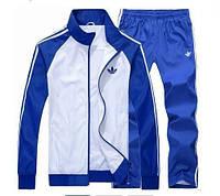 Спортивный костюм Adidas, серое туловище, синие рукава, синие штаны,с лампасами ф286