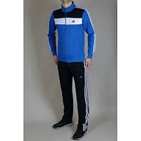Спортивный костюм Adidas, голубая кофта, черные штаны,с лампасами ф289