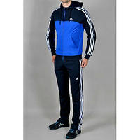 Спортивный костюм Adidas, синее туловище, черные рукава, черные штаны,с лампасами ф287