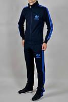 Спортивный костюм Adidas, ченый костюм, с голубыми лампасами, ф295