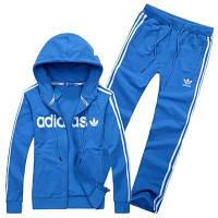 Спортивный костюм Adidas, голубой костюм, с капюшоном, с лампасами, ф294