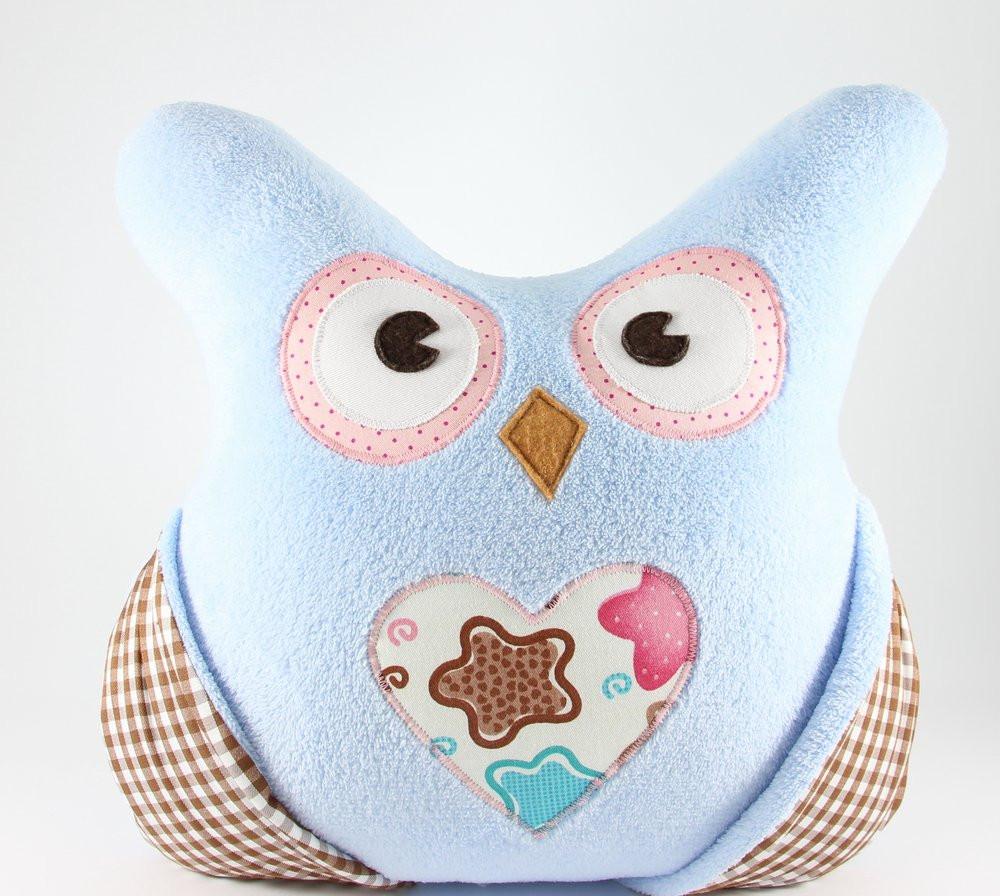 Детская плюшевая подушка с кармашками «Сова» (Голубой), Sunny Bunny