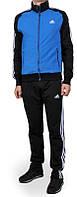 Спортивный костюм Adidas, голубое туловище, черные рукава, черные штаны, ф312
