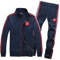 Спортивный костюм Adidas, темно-синий костюм, с красными лампасами, ф333