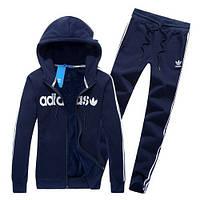 Спортивный костюм Adidas, темно-синий костюм, с капюшоном, с лампасами, ф337