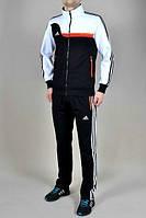 Спортивный костюм Adidas, черная кофта с белым верхом, черные штаны,с лампасами ф338