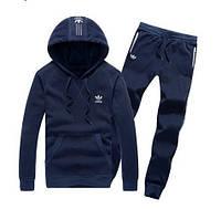 Спортивный костюм Adidas, темно-синий костюм, с капюшоном, с лампасами, ф340