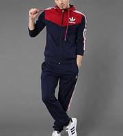 Спортивный костюм Adidas, темно-синий костюм с красным верхом, с лампасами, ф600