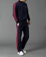 Спортивный костюм Adidas, темно-синий костюм с красными лампасами, ф602