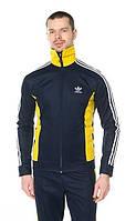Спортивный костюм Adidas, ченый костюм с желтыми вставками, с лампасами, ф2922
